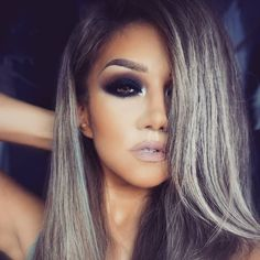 """""""This is again our black smokey eye ( tutorial in previous posts) @chrisspy pose OH yeah tried my best DEETS -Eye shadows BLACK OUT (mobile eyelid…"""""""