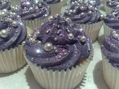 Bridal Shower - Purple Glitter Cupcakes w/ Edible Pearls. These are the prettiest cupcakes ever! Sparkly Cupcakes, Purple Cupcakes, Pretty Cupcakes, Cupcake Cakes, Galaxy Cupcakes, Beautiful Cupcakes, Fancy Cupcakes, Princess Cupcakes, Desserts
