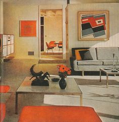 "In this photo from the April 1961 issue of ""The American Home"" Josef Alberss Construction in Red-Blue-Black is featured along with an Homage to the Square."" The rhythm of squares and colors in the room are bound to the paintings a beautiful instance of art into life. Construction in Red-Blue-Black is currently on view at the Barber Institute of Fine Arts Birmingham UK through May 8. See previous post for a close-up of the painting. (Image from The American Home April 1961 p. 35. Photo…"