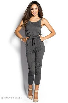 034db819dfb Gray Casual Slouchy Jumpsuit with Pockets Casual Jumpsuit