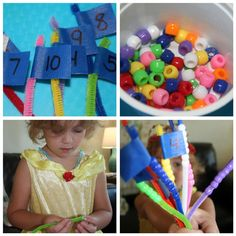 Counting bead flags--great for developing fine motor skills