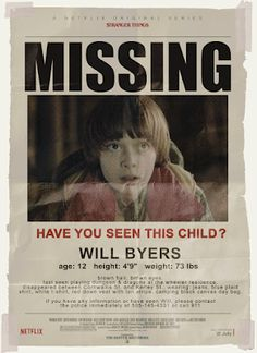 Stranger Things party prop - Will Byers missing poster Stranger Things Aesthetic, Stranger Things Funny, Stranger Things Netflix, Stranger Things Theme, Will Byers, Film Serie, Halloween Party, Halloween Halloween, Halloween Costumes