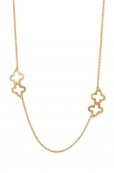 Long Gold Chain Necklace with Clovers | Signature Clover Necklace