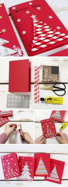 DIY gifts for Christmas: 3 original DIY ideas - DIY card for Christmas. Gifts are super easy to make yourself and especially homemade greeting cards - Diy Christmas Cards, Kids Christmas, Handmade Christmas, Diy Natal, Christmas Crafts, Christmas Decorations, Christmas Recipes, Homemade Greeting Cards, 242
