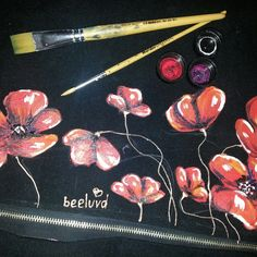 Work in progress of one of my personalized handmade and handpainted clutches.