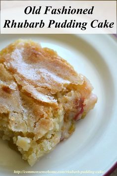 Rhubarb Pudding Cake This old fashioned rhubarb pudding cake recipe has a delicate sugar crust, and rich pudding bottom. It's easy to make using fresh or frozen rhubarb, and can also be made gluten free.This old fashioned rhubarb pudding cake recipe has a Sweet Recipes, Cake Recipes, Dessert Recipes, Pudding Recipes, Dinner Recipes, Icing Recipes, Oven Recipes, Crockpot Recipes, Dinner Ideas