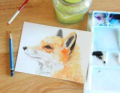 Orange Woodland Fox Original Watercolor Painting by Elise Engh (Grow Creative)