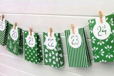 Green and White #Handmade #AdventCalendar. Gift bags by MyPaperPlanet