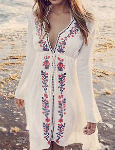 White Print Dress V Neck Going out Boho Floral Beach Dress – lalasgal Floral Beach Dresses, Beach Wear Dresses, Casual Dresses, Maxi Dresses, Dress Beach, Dress Summer, Beach Kaftan, Denim Dresses, Sexy Maxi Dress