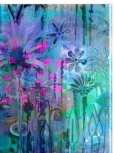 Cerulean blue flowers garden mixed media watercolor digital art robin mead