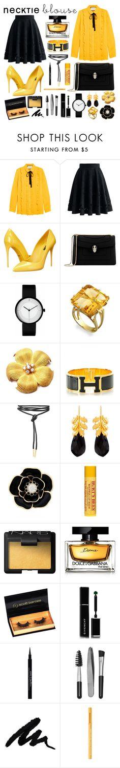 """Bumblebee"" by stripy-zebra ❤ liked on Polyvore featuring Gucci, Chicwish, Dolce&Gabbana, Bulgari, Tiffany & Co., Hermès, Kastur Jewels, Liz Claiborne, Burt's Bees and NARS Cosmetics"