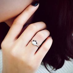 猫咪开口戒指女 S925纯银可爱磨砂猫爪 喵星人个性尾戒关节戒礼物