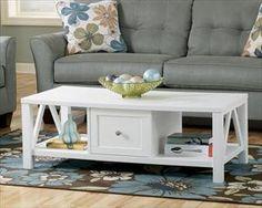 Nebraska Furniture Mart – Ashley White Coffee Table with Storage Drawer