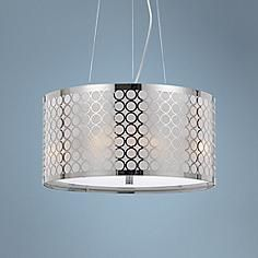 """Madrid Collection 18"""" Wide Chrome Metal Pedant"""