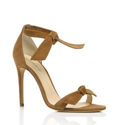 A playful knot detail at the ankle and toe of this beige suede design gives a wonderful contemporary twist to the usual high heel sandal look.