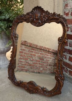 Antique English Beveled Oval Frame Wall Mirror Tortoise