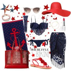 Memorial Day ruffled bikini by kc-spangler on Polyvore featuring J.Crew, Roxy, Monsoon, Kate Spade, Frye, Gucci, Acqua di Parma, Elizabeth Arden, Barneys New York and bikini