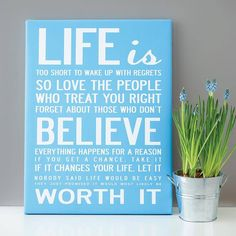 'Life Is Too Short' Quote Print Or Canvas from notonthehighstreet.com