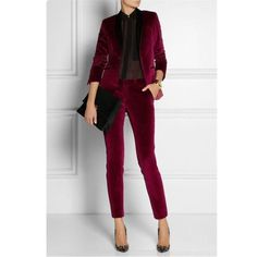 EACH X OTHER Satin-trimmed velvet tuxedo pants - this would make a super chic NYE outfit! Work Fashion, Fashion Looks, Fashion Outfits, Womens Fashion, Fashion Wear, Gothic Fashion, Business Outfit Frau, Business Attire, Tuxedo Pants