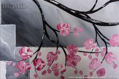 Original Modern Landscape Asian Zen Tree Blossom Textured
