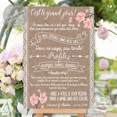 "Personalized Wedding Welcome Board ""Merci Bohème"" - Flores Simple Weddings, Romantic Weddings, Wedding Welcome Table, Table Wedding, Romantic Themes, Wedding Table Decorations, Post Wedding, Personalized Wedding, Rustic Wedding"