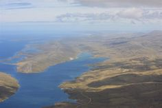 The world from above. The view of the Falkland Islands from above on a Round Robin trip around the islands.