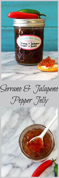 Serrano & Jalapeno Pepper Jelly - A sweet and spicy jelly made with freshly picked Serrano and Jalapenos. This is a simple canning recipe that will preserve your peppers for over a year. Goes great wi (Canning Lemon Butter) Jalapeno Pepper Jelly, Pepper Jelly Recipes, Stuffed Jalapeno Peppers, Serrano Pepper, Jam Recipes, Canning Recipes, Recipies, Holiday Recipes, Free Recipes