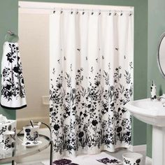 Black and shower curtain