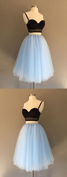 Two piece spaghetti strap tulle homecoming dress by ainiprom, $91.86 USD