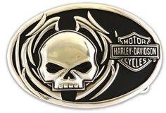 Harley-Davidson® Mens Collector Belt Buckle Skull Fire Motorcycle. M10072