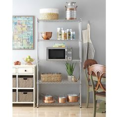 Chrome Plated Metal 5-Shelf Pantry Shelving (5-Layer), Silver