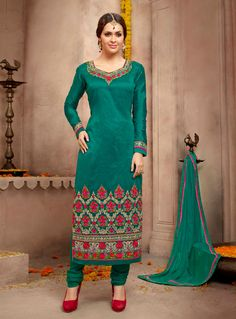 Teal Silk Churidar Salwar Suit 84808