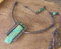 Natural Amazonite Pendant Necklace Embedded in Copper by annamei