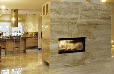 @imarpolska Przedsiębiorstwo Kamieniarskie: Obudowa kominka wykonana z marmuru Breccia Sarda. Marmur układany w slabach, łączenie krawędzi pod kątem 45 stopni. / www.i-mar.pl / Elegant fireplace casing made of marble #BrecciaSarda.