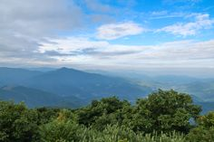 Named after the Biblical mount where Moses first saw the Promised Land, Mt. Pisgah is the landmark that gave Pisgah National Forest its name. The mountain is easily accessible via a hiking trail from the Blue Ridge Parkway. Mt. Pisgah is topped with the Asheville-based broadcaster WLOS-TV tower, so it is easily identifiable even from long distances.  From the summit spectacular views of the surrounding Blue Ridge Mountains abound, including Cold Mountain seen here directly to the west.