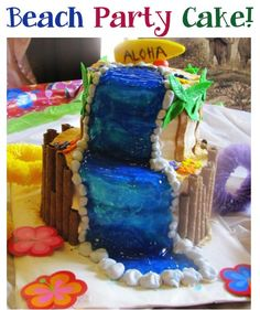 Beach Party Cake!  {this fun cake, with a waterfall included, is perfect for your beach or luau parties!} #beach #luau #cake #party