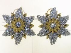 Vintage Gold Tone Clear Rhinestone Starfish Clip Earrings