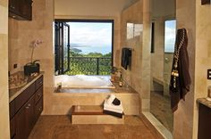 Stone Bathtub Design at Your Luxury Dream Home for Holiday in Costa Rica - Casa Big Sur with Balinese-Style