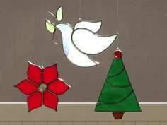 Stained Glass Christmas Suncatchers/Ornaments (Dove, Poinsettia and Tree) by FoxStainedGlass