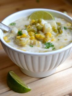 This versatile corn chowder recipe blends the flavors of summer with the comfort of fall. It's extremely versatile (spicy or mild; fresh, frozen, or canned ingredients) and it's also dairy free, vegetarian and gluten free, with Healthy Meals For Two, Healthy Chicken Recipes, Mexican Food Recipes, Meatless Recipes, Veg Recipes, Healthy Dinners, Dinner Recipes, Vegan Corn Chowder, Vegan Soup