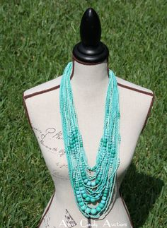 Great Turquoise Statement Necklace - http://www.facebook.com/armcandyauctions