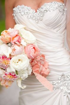 Beautiful sparkly dress and bouquet - Matt Ramos Photography
