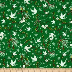 Christmas 2015 Doves Green  from @fabricdotcom  Designed for Fabri-Quilt, this cotton print fabric is perfect for quilting, apparel and home decor accents. Colors include grey, white, shades of green, and shades of red.