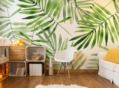This green palms wall mural will work well to bring in the tropical theme with lights and pastel colours. Palm Wallpaper, Tropical Wallpaper, Home Wallpaper, Office Deco, Nursery Wall Murals, Tropical Bedrooms, Minimalist House Design, Cool Walls, Designer Wallpaper