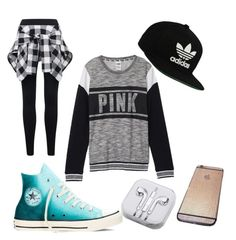 """Untitled #8"" by pizza10 on Polyvore featuring beauty, Victoria's Secret, Converse, adidas Originals and PhunkeeTree"