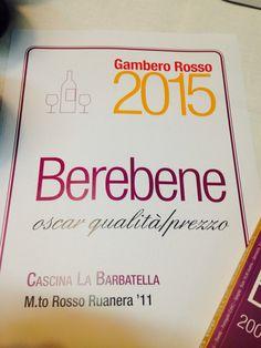 BERE BENE GAMBERO ROSSO AL RUANERA !!! www.labarbatella.com