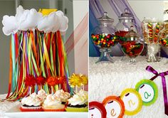 Rainbow party, including cloud streamer wands