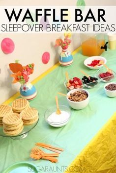 Waffle Bar Sleepover Party Ideas - The OT Toolbox Waffle Breakfast Bar ideas for self-serve breakfast and healthy options. This is a great idea for a sleepover breakfast! Sleepover Birthday Parties, Girl Sleepover, Birthday Party For Teens, 14th Birthday, Sleepover Party Ideas For Girls Tween, Birthday Bar, Sleepover Food, Teen Parties, Ideas For Sleepovers