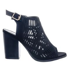 Connie8 Perforated Holes & Side Split Cut Out Peep Toe Ankle Bootie Block Heel #ankle #boots #bootie #block #chunky #heel #high #high heel #women #shoes #peep toe #sandal #sling back #hole #cutout #laser cut #suede #black