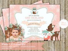 Winter Onederland Invitation Girl Woodland Animals, Fox Deer Owl  Snowflakes First Birthday Party 1st Birthday Digital Printable Invite Pink